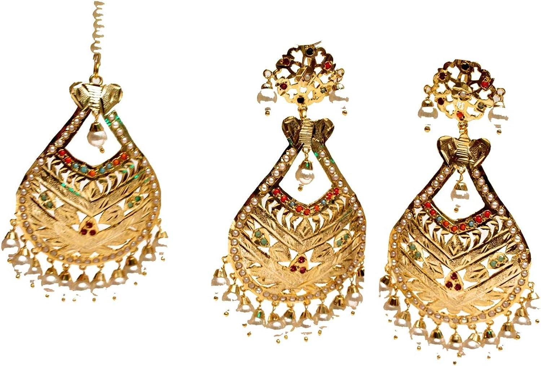 Gold Jadau Navrattan Earings Bridal Punjabi Indian Wedding Earrings Tikka Muslim Jewelry Set