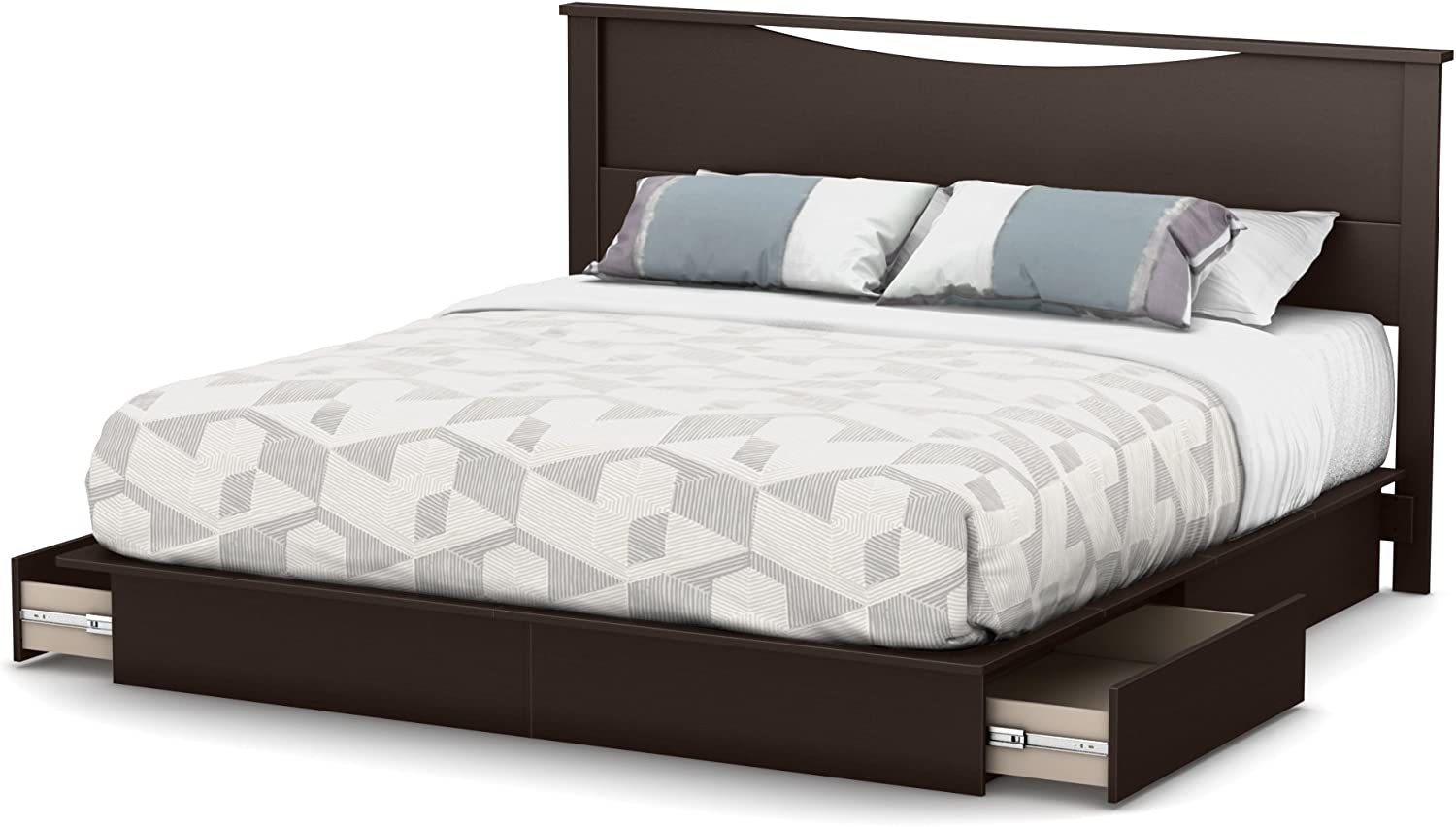 King Chocolate South Shore Step One Platform Bed with Drawers