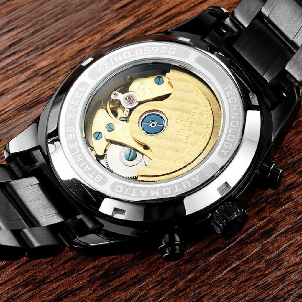 CARNIVAL herrklocka, multifunktion automatiska mekaniska klockor lysande vattenmotstånd armbandsur 8592G Svart