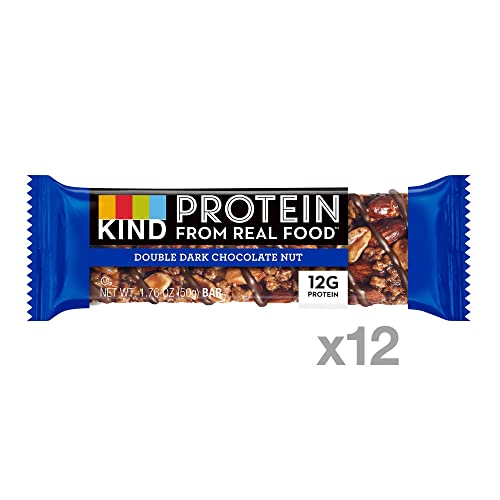 KIND Protein Bars, Double Dark Chocolate Nut, Gluten Free, 12g Protein,1.76 Ounce 12 Count
