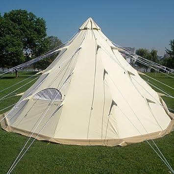 ce367bfe7 QEXAN tipi-500 Glamping - Tienda de campaña para 10 Personas 100% Lona de  algodón (tamaño 500 x 500 x 300 cm): Amazon.es: Deportes y aire libre
