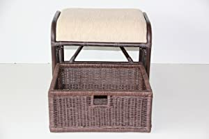 IRA Handmade Rattan Wicker Ottoman Footstool Pouf Stool w/Basket w/Cushion Color Dark Brown