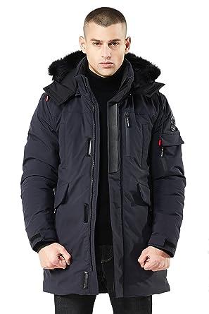 Herren Winter Lange Jacke Warm mit Fell Kragen Kapuze Pelz