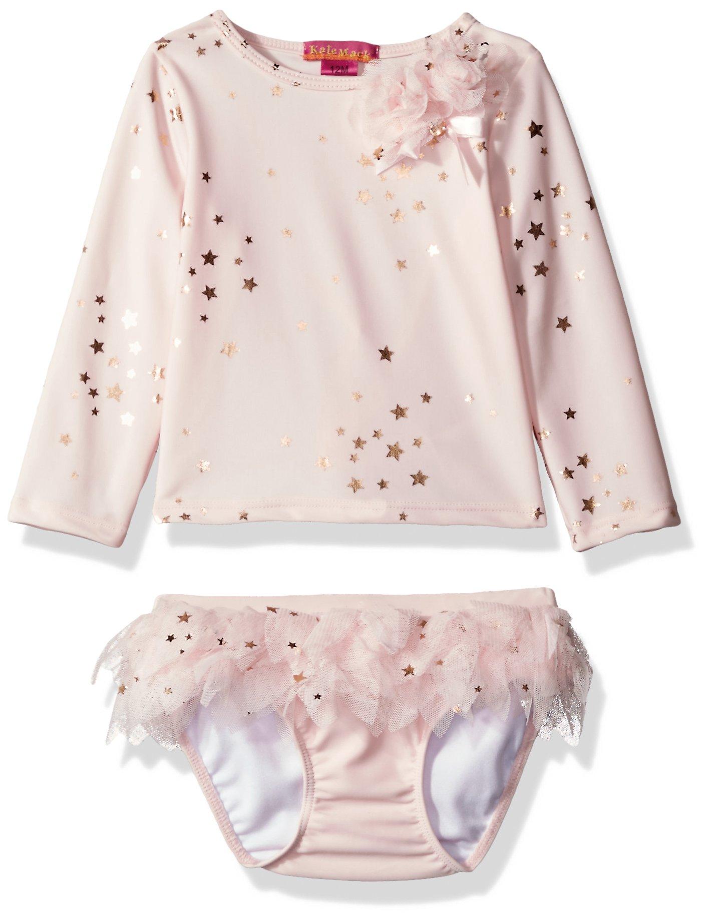 Kate Mack Baby Girls' Fairy Dance Rashguard and Skirted Swim Bottom, Pink, 9 Months by Kate Mack