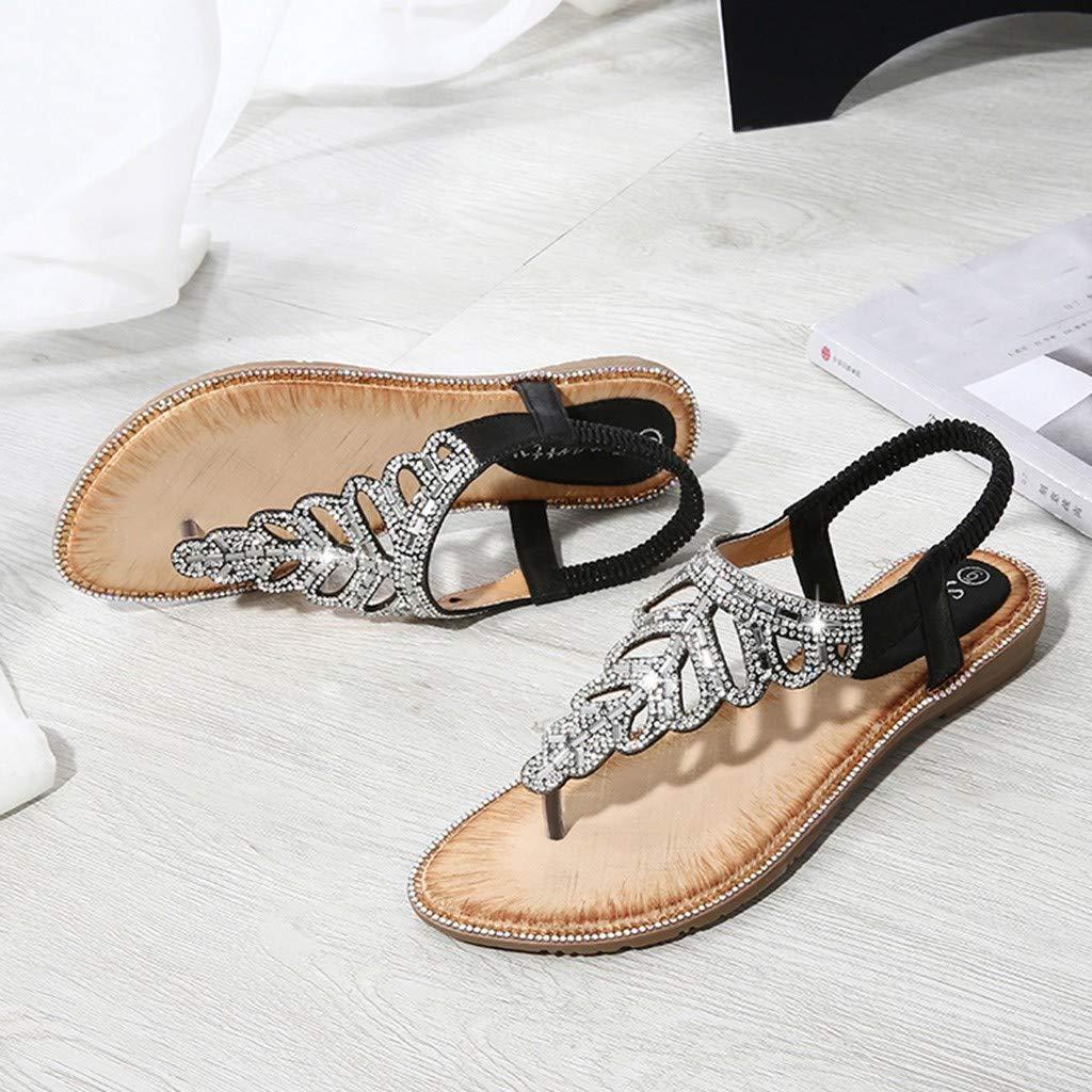 HHei/_K Women Bohemia Diamond Flat Leaves Clip Toe Sandals Summer Beach Shoes Bling Crystal Rome Flat Casual Shoes