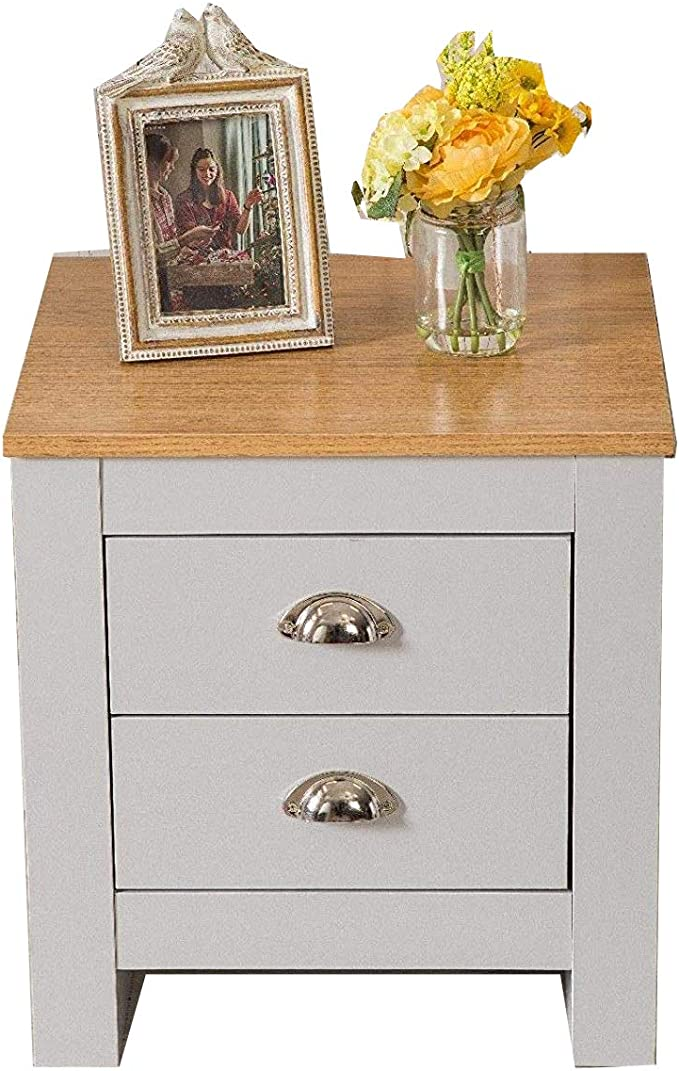 Grey Furnituremaxi Country Style Pair of Bedside Tables 3 Drawer Cabinet Bedroom Furniture