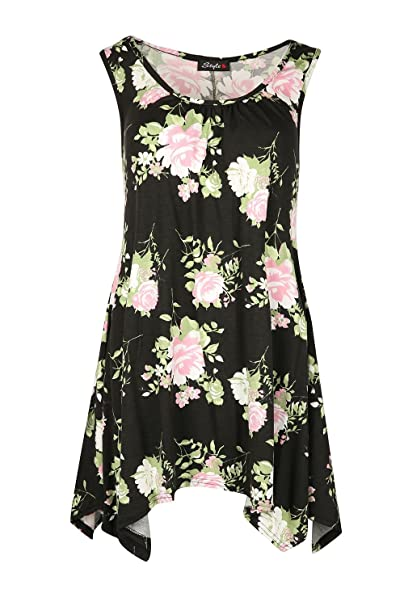 Oops Outlet - Vestido - Sin mangas - para mujer Black Pink Roses Talla extra (