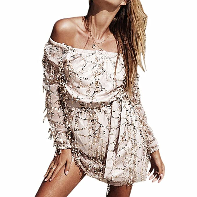 off shoulder long sleeves sequins glitter short sexy beach mini dress cover-up at Amazon Womens Clothing store: