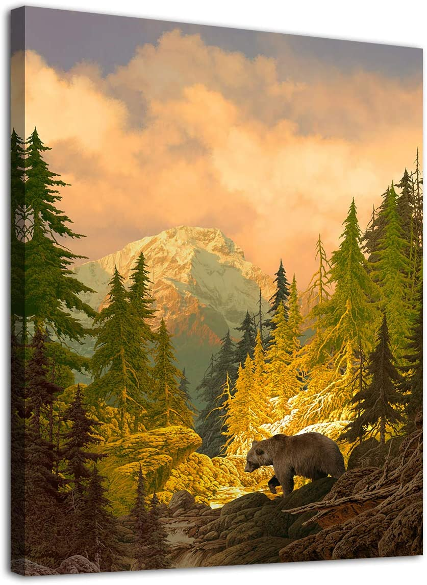 "arteWOODS Canvas Wall Art Decor Grizzly Bear for Bedroom Living Room Forest Rocky Mountain Modern Canvas Artwork Contemporary Picture Prints for Office Wall Decoration Framed Ready to Hang 12"" x 16"""