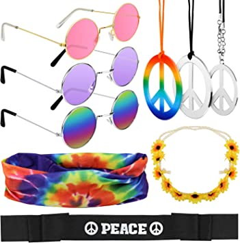 Hysagtek - Juego de 9 piezas de disfraz hippie, accesorios de ...