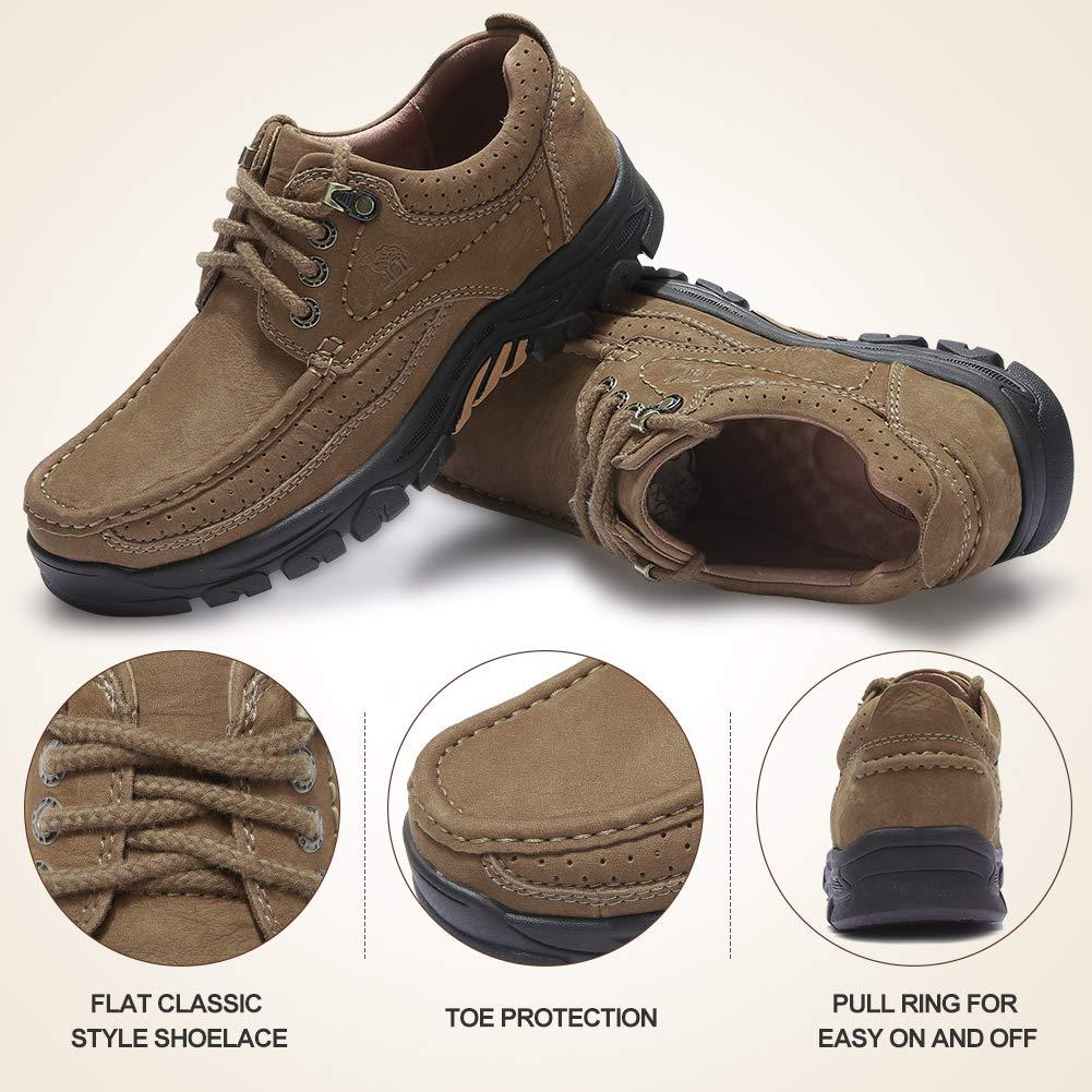 CAMEL CROWN Zapatos Casuales Hombre C/ómodo Calzado Antideslizante de Cuero Negocios Vestir Cordones Mocasines de Moda