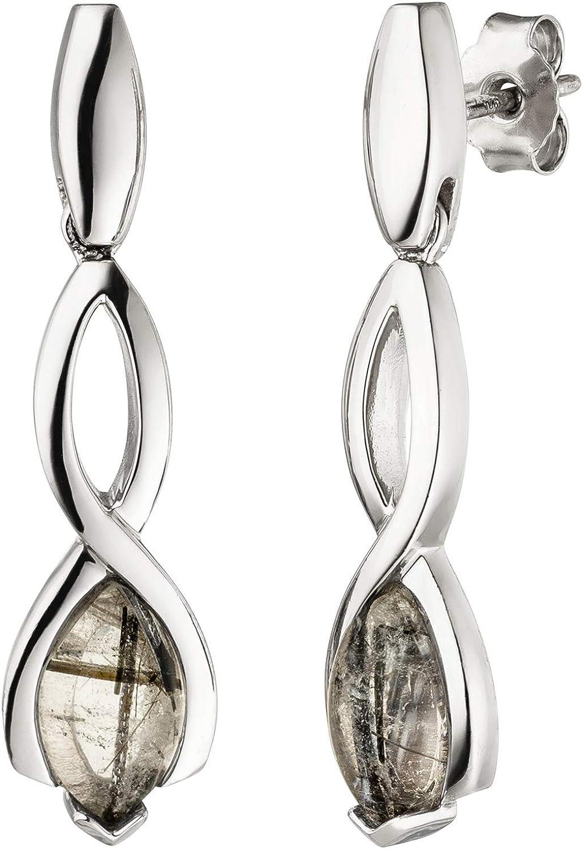 Jobo - Pendientes de mujer de plata de ley 925, 2 cuarzo turmalina