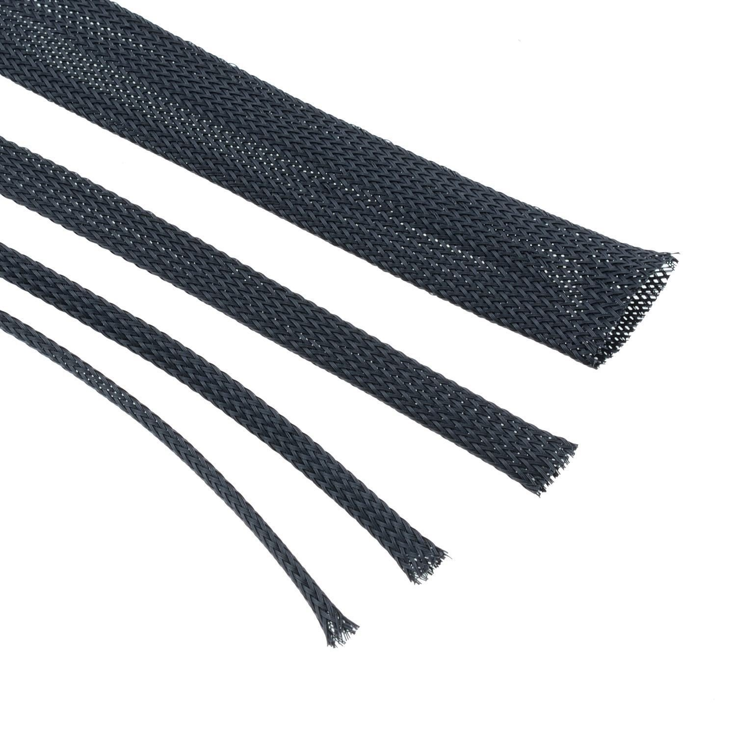 0.375Inch Harness Tech 1 Inch Clean Cut Braided Cable Sleeve 25 Ft Black