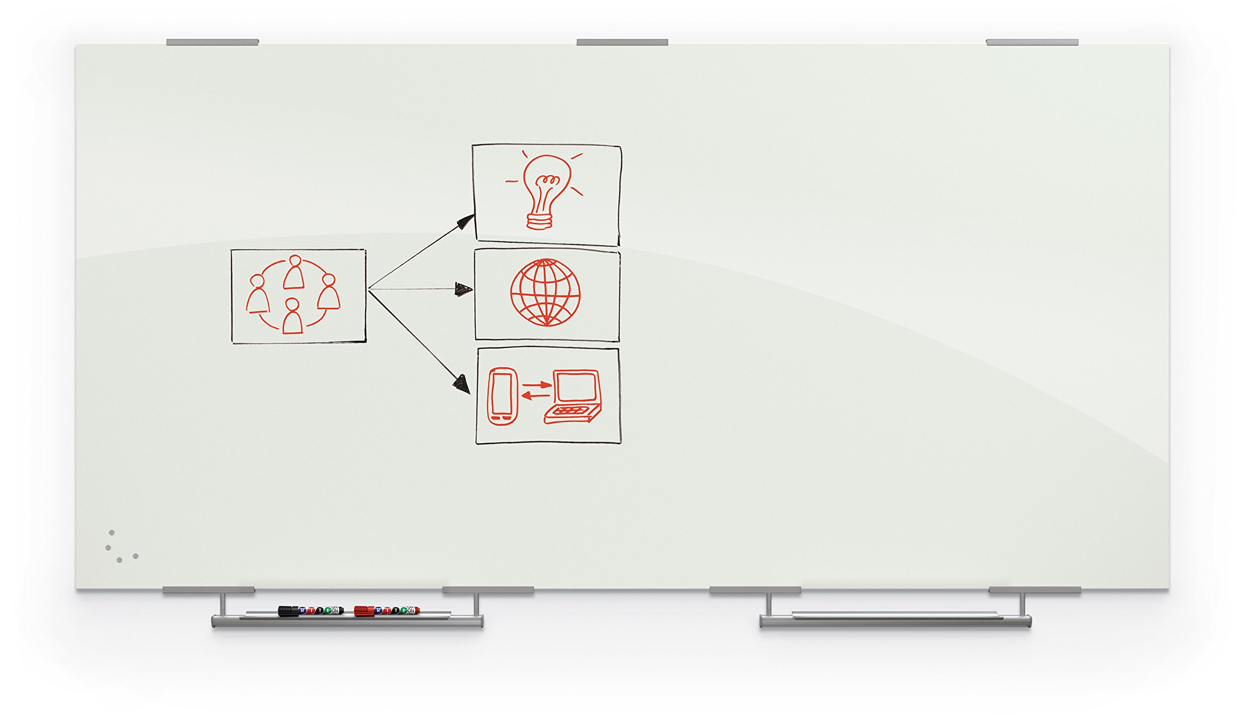 Best-Rite Magnetic Glass Dry Erase Whiteboard with Exo Tray System, 4' x 8', Glossy White (83846-2X576)