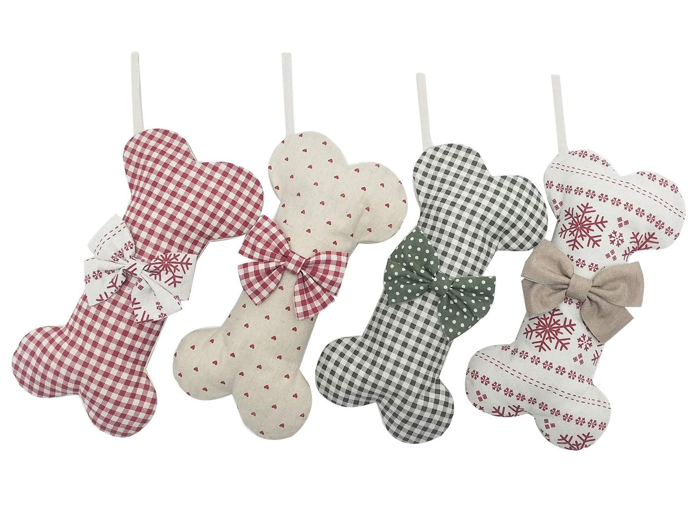 (Extra Large) Cotton Christmas Stocking Dog Bone Holidays Gingham Dog Bone for Pets Christmas Ornament #4 Snow-16 inches x 9 inches. BYT Collections