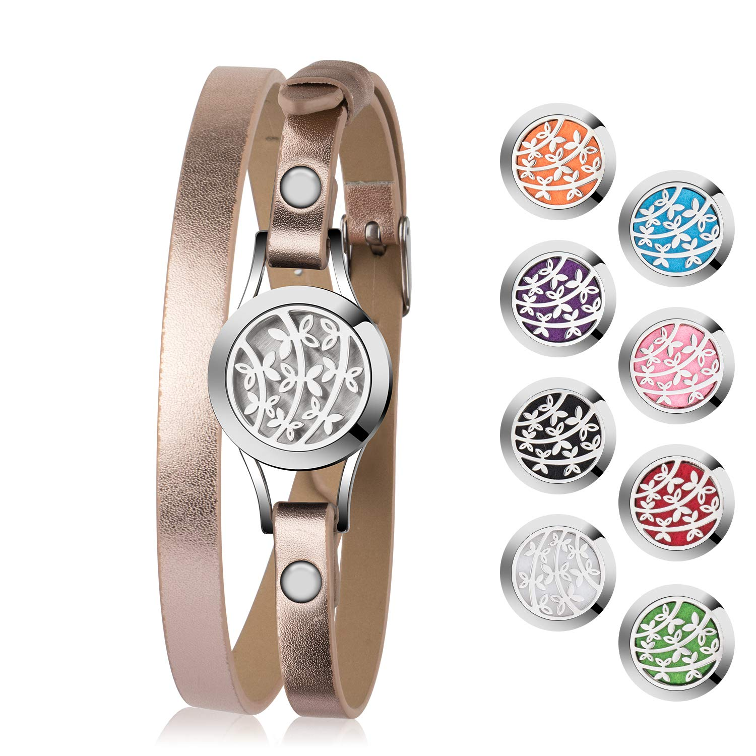 Aromatherapy Essential Oil Diffuser Bracelet Jewelry Birthday Gifts for Women Stainless Steel Locket Anxiety Relieve Bracelets Leather Band with 8 Color Washable Pads Girls Women Jewelry Gift Set