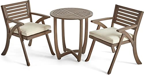 Great Deal Furniture Toulon Outdoor 2-Seater Acacia Wood Bistro Set