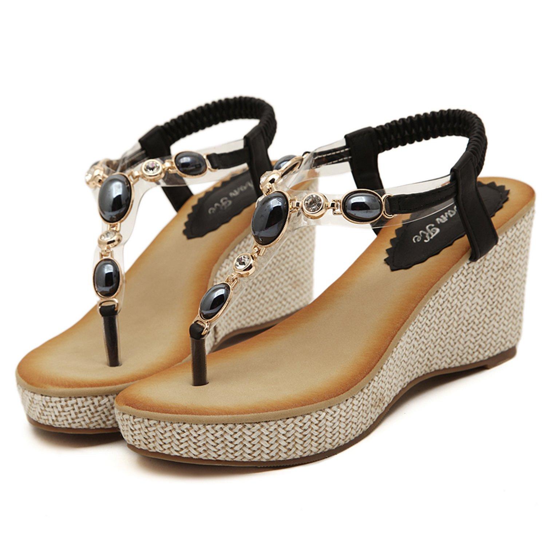 DQQ Damen-Sandalen mit Keilabsatz und Zehensteg, Bohemien-Style, schwarz - schwarz - Größe: 36