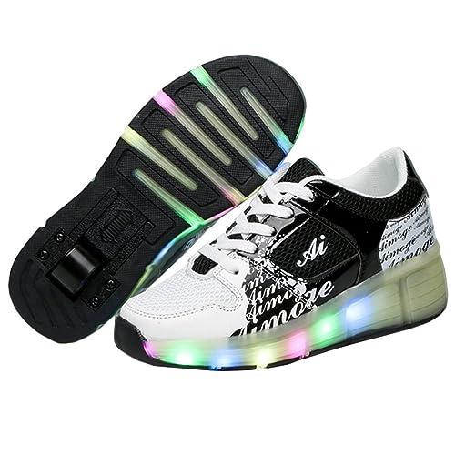 TeraSeven - Zapatillas deportivas infantiles, con luz LED intermitente y rueda, negro (negro), 30 EU: Amazon.es: Zapatos y complementos