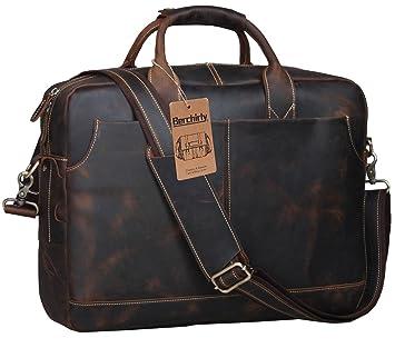 berchirly Large – Maletín para ordenador portátil de cuero maletín para hombre, Vintage Crazy Horse