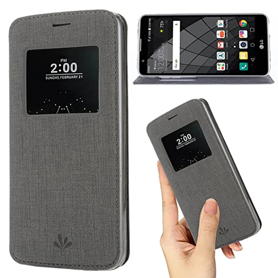 pretty nice c0cc0 feea2 LG G6 case,Premium Flip Leather Case View Window Sleep Wake Up Smart Cover  Stand Kickstand Full Body Protective Magnetic Closure TPU Bumper Case for  ...