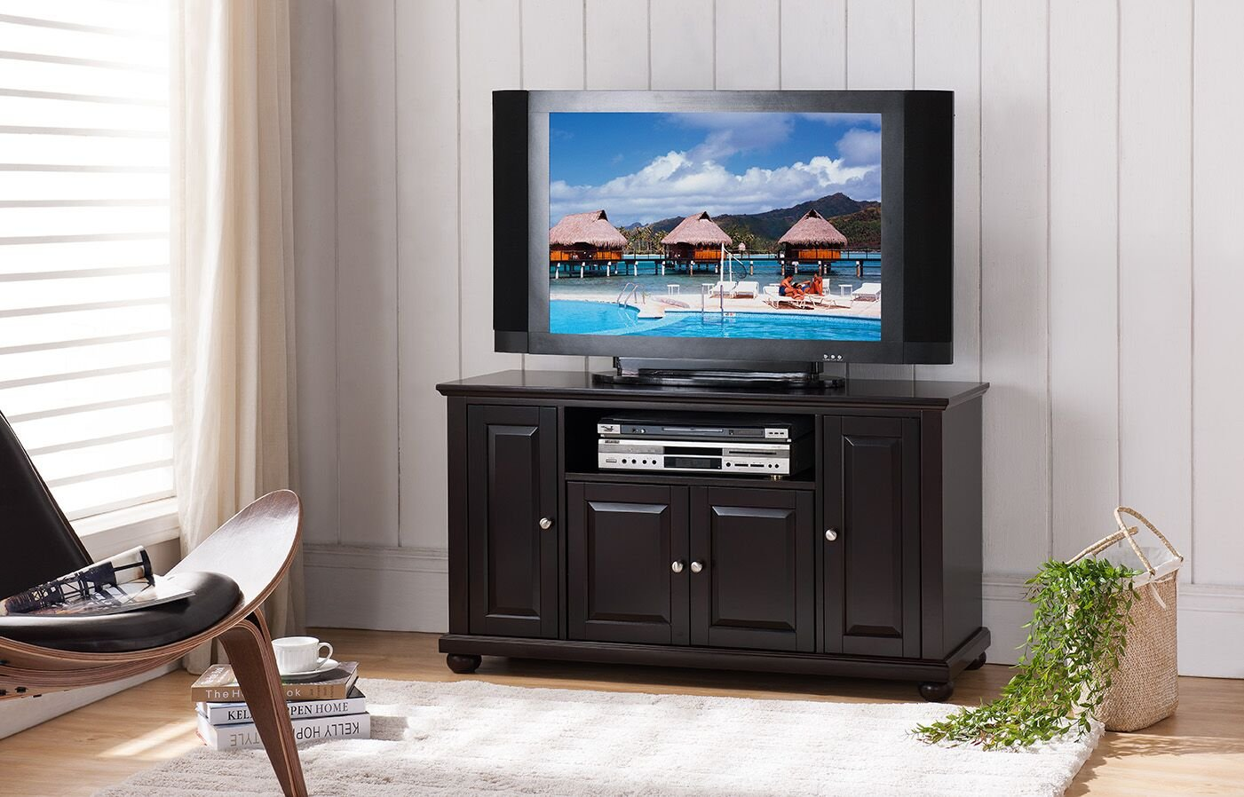 Kings Brand Furniture Wood Console Table TV Stand, Dark Cherry