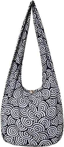Black Purple Striped Linen Cotton Canvas Hobo Messenger Cross Body Purse Bag!