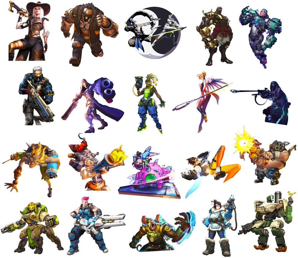 GTOTd Overwatch Stickers (B Series. Large Size 20Pcs) with New Character for Laptop,Kids,Cars,Motorcycle,Bicycle,Bumper Stickers Hippie Decals Bomb Waterproof
