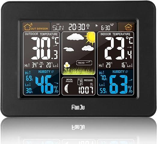 FanJu estación meteorológica FJ3365B con Despertador, Negro: Amazon.es: Jardín