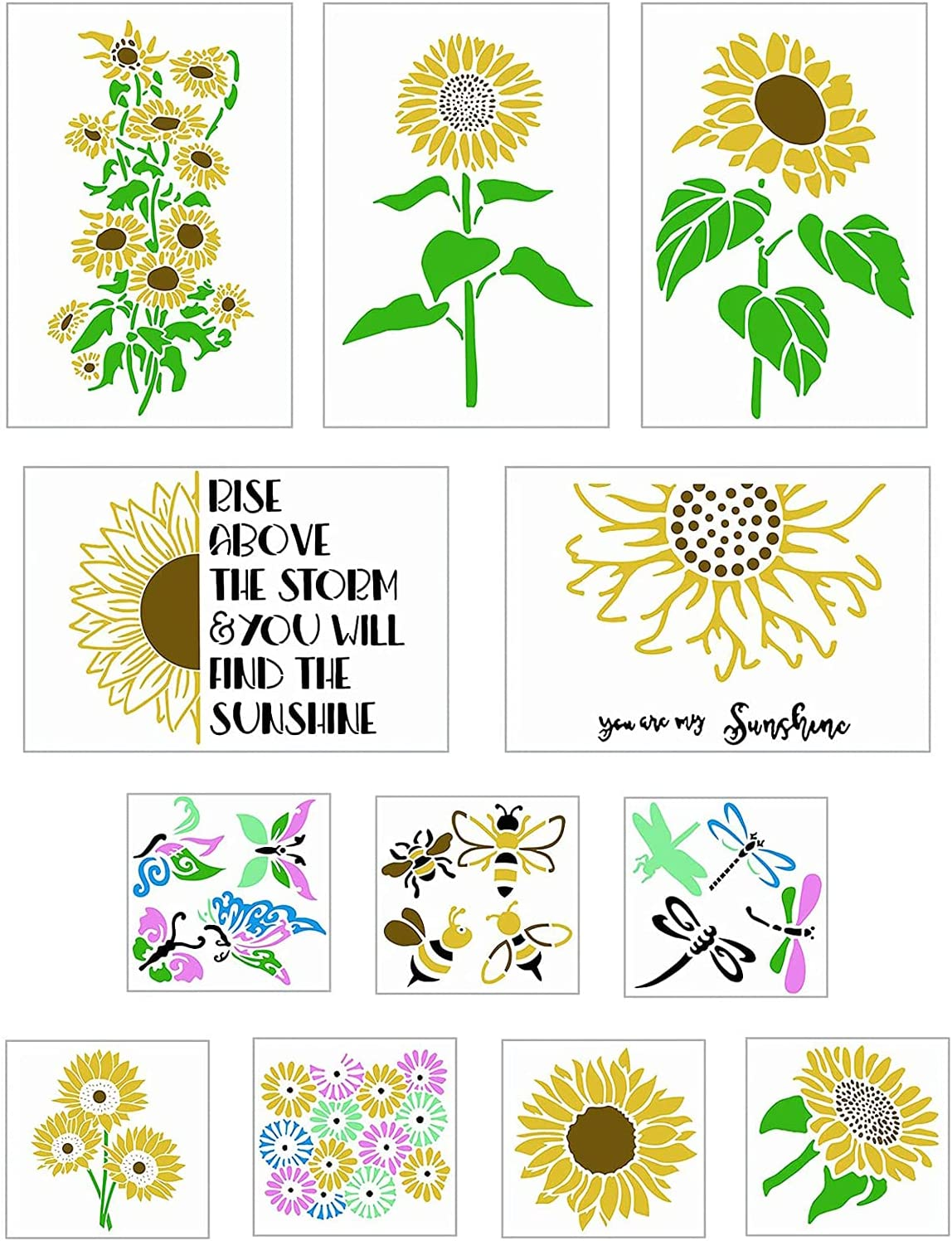 lumflew Sunflower Stencils 12 Pieces, Flower Butterfly Bee Stencils for Painting On Wood Canvas Walls Paper Fabric Furniture