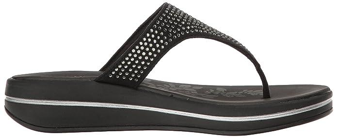 Skechers Upgrades-Stones, Sandalias con Tira Vertical para Mujer, Negro (Black), 37 EU