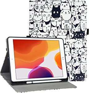 iPad 10.2 Case 2020 iPad 8th Generation Case with Pencil Holder, Premium PU Leather Folio Cover for iPad 7th Generation 2019, Auto Wake and Sleep, Magnetic Closure, Multiple Viewing Angles Stand Case