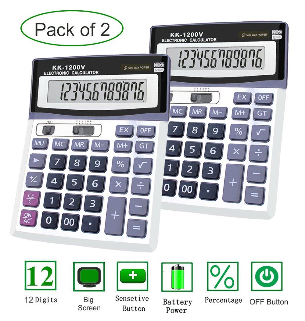Basic Calculator, BESTWYA 12-Digit Dual Power Handheld Desktop Calculator with Large LCD Display big sensitive button (A, Pack of 2)