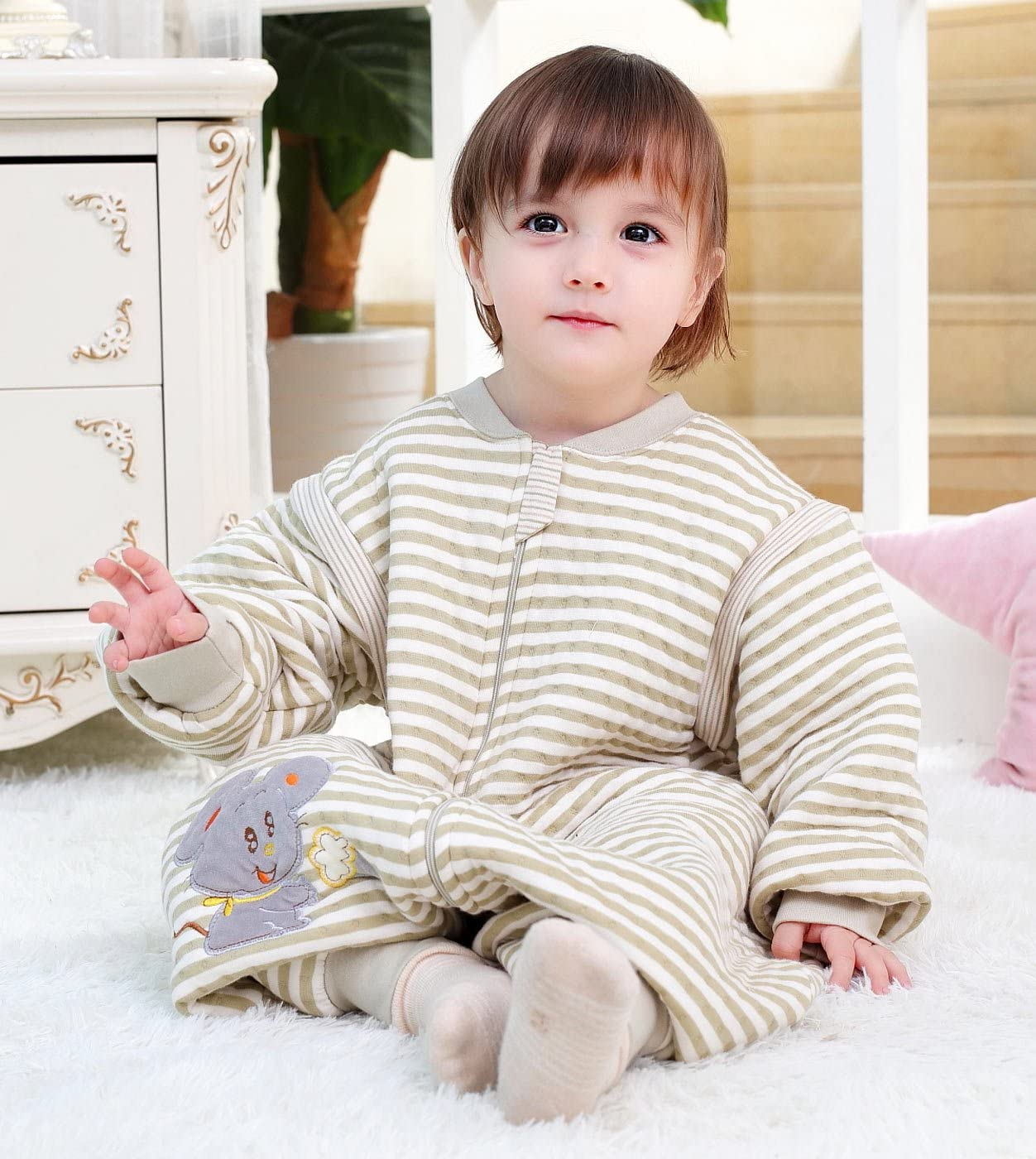 FEOYA Toddler Sleeping Bag with Arms Baby Sleeping Bag Arms Detachable Sleeping Sack with Baby Boy Girl Kids Sleeping Suit with Feet Autumn Winter 9-18 Months Brown