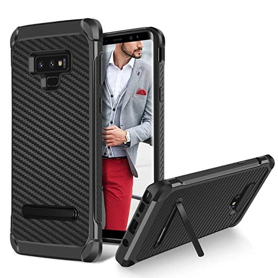 huge selection of 222b8 5b2fe BENTOBEN Case for Samsung Galaxy Note 9, Kickstand Protective Carbon Fiber  Texture Phone Cases, 2 in 1 Hybrid Dual Layer Heavy Duty Hard PC Cover Soft  ...