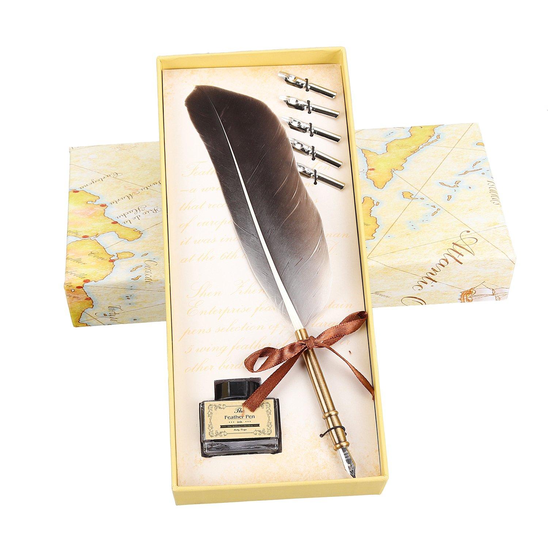 Amazon.com : Molshine Quill Pen Set Antique Dip Feather Pen ...