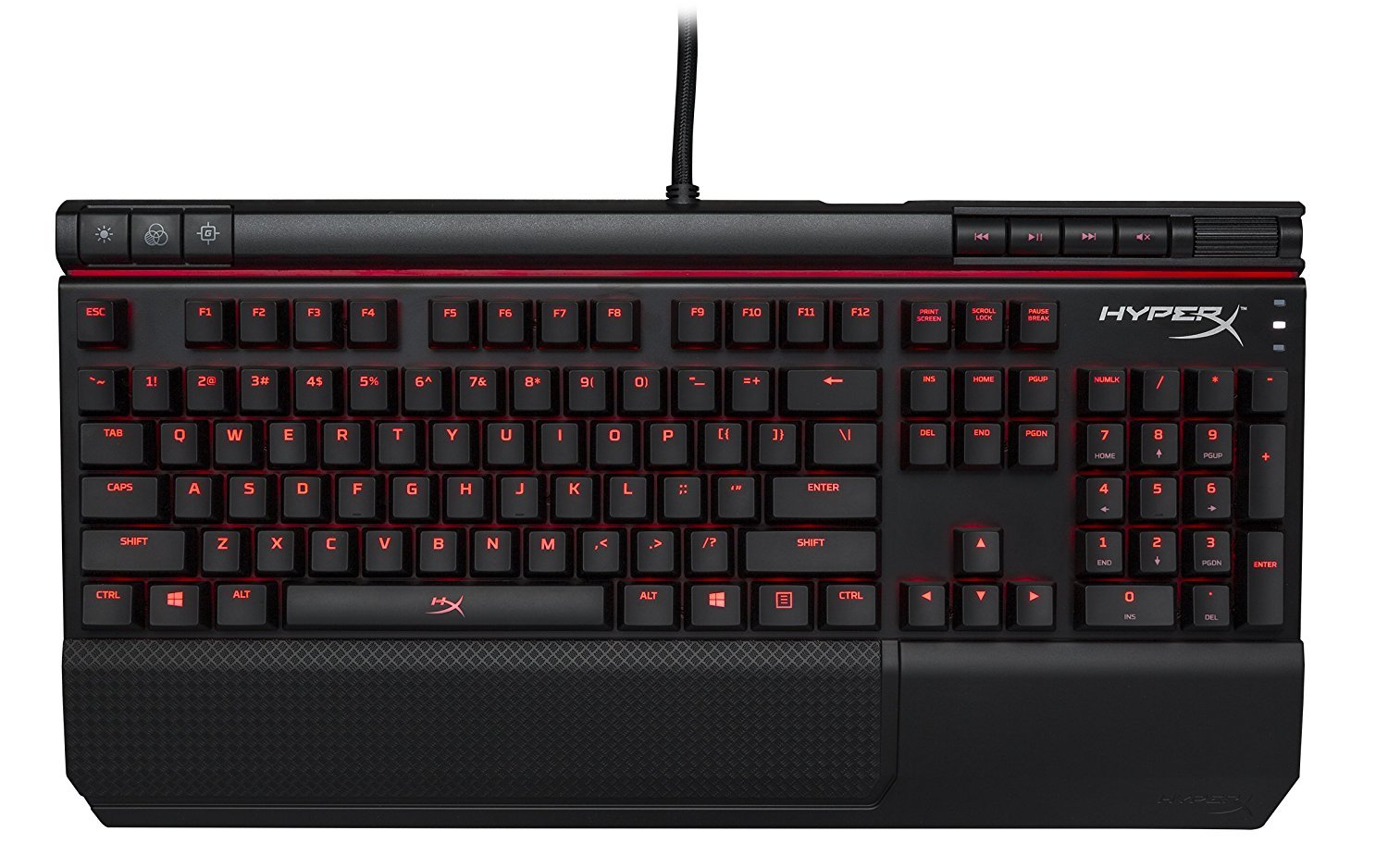 HyperX Alloy Elite - Mechanical Gaming Keyboard - Radiant Light Bar - Wrist Rest & Gaming Keycaps Included - Media Controls - Linear & Quiet - Cherry MX Red - Red LED Backlit (HX-KB2RD1-US/R1)