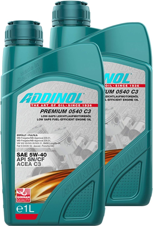 Addinol 2x Motoröl Motorenöl Motor Motoren Motor Oil Engine Oil Benzin Diesel 5w 40 Premium 0540 C3 1l 72098007 Auto