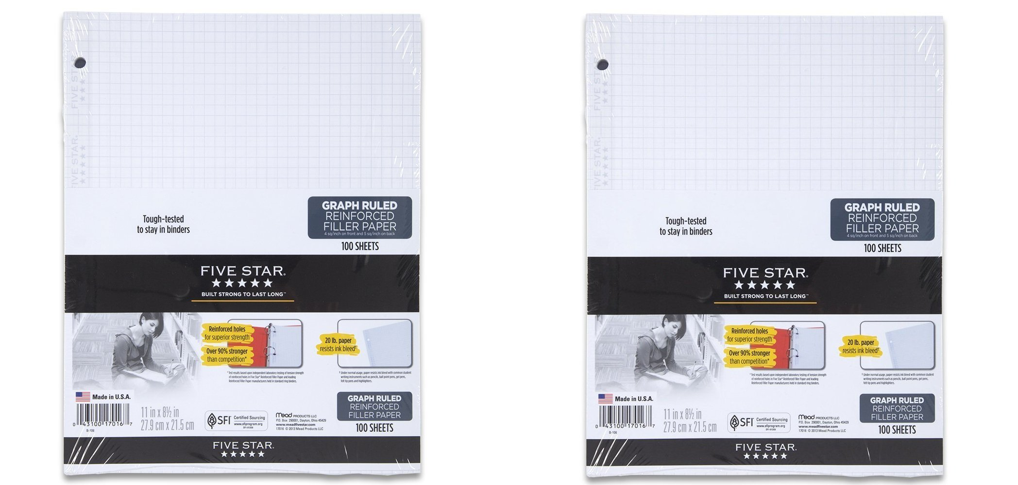 Five Star Reinforced Graph Filler Paper, Graph Ruled, Loose-leaf, 11 x 8.5 Inch Sheet Size, 100 Sheets/Pack (17016) (2-Pack) by Five Star