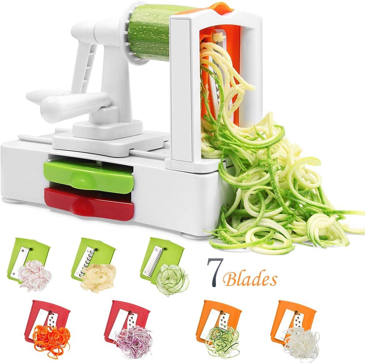 Corafei 7 Blades Spiralizer Vegetable Spiral Slicer Strongest Heaviest Duty