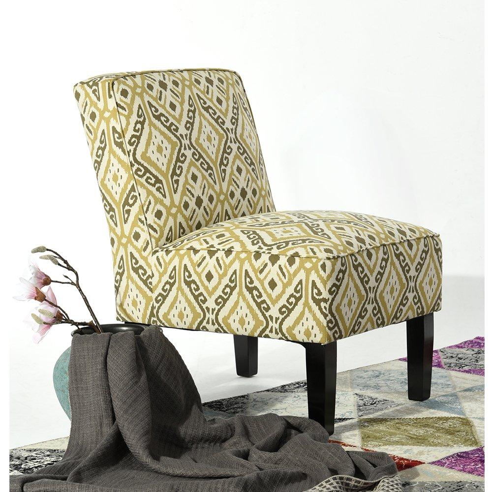 Chaise Séjour Tissu Jaune Imprimé Pied Bois Intemporel Salon Chambre