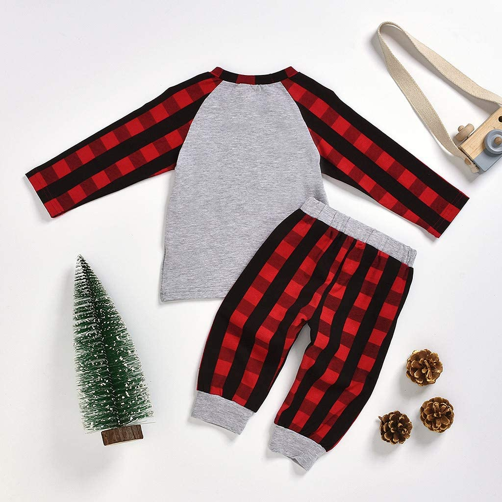 Lucoo Winter Outfits Set,Toddler Kids Baby Girl Letter Hooded Tops+Plaid Pants Christmas Clothes Set