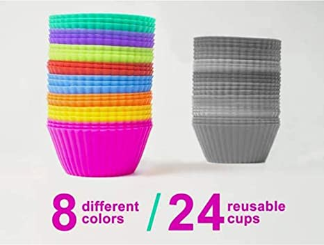 Baking Cups Muffin Molds Non Stick Liners. 24 Reusable Silicone Cupcake Molds
