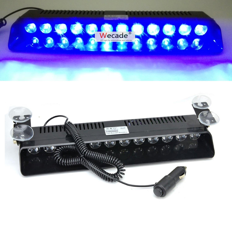 Wecade 12w 12 Leds Car Truck Emergency Strobe Flash Light Windshield Warning Light (Blue)