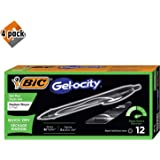 BIC Gel-ocity Quick Dry Retractable Gel Pen, Medium Point (0.7mm), Black, 12-Count - 4 Pack