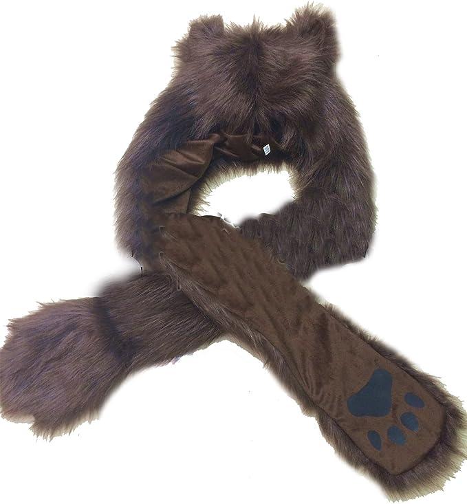 LOSORN ZPY Damen Winter Fell M/ütze Kapuzenschal Kunstfell Tierm/ütze Ohren mit Handschuhe Schal