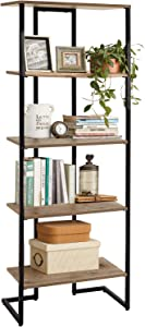 LINSY HOME Bookshelf ,Wood Bookcase with Metal Frames, Industrial Open Wall Mount Ladder Bookshelf. Modern Tall Display Shelf Rack Open Standing Shelving for Living Room, Bedroom,Office, 5-Tier,Wood