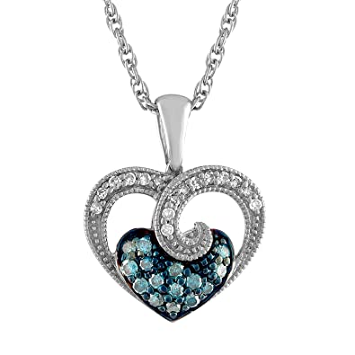 Amazon blue diamond heart necklace in sterling silver jewelry blue diamond heart necklace in sterling silver mozeypictures Image collections
