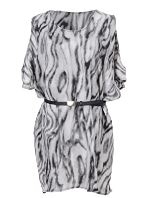 Anna-Kaci S/M Fit Grey & Black All Over Marble Print Dolman Sleeve Belted Dress