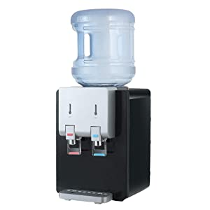 Amay Desktop Water Cooler Dispenser Top Loading Water Dispenser Hot & Cold Water Coolers with Child Safety Lock Drinking Fountain